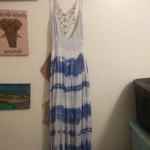 Light blue maxi dress with jingle bells